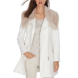 WHBM Coat with Faux Fur Collar